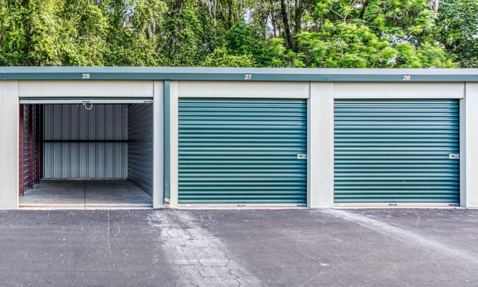 Self-storage unit with door open.